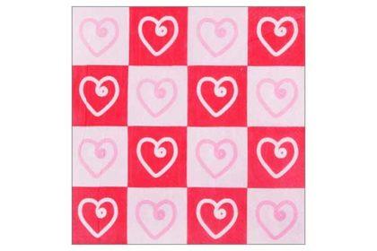 Serviette 2-lagig 33x33 cm, rot-weiss-rosa mit Herzen