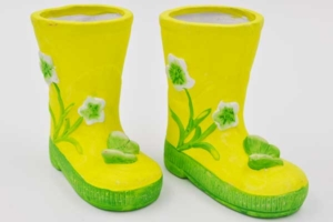 2er Set grüne Porzellan-Stiefel, 125x125x75mm