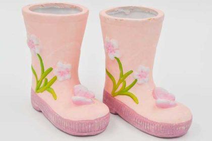 2er Set rosa Porzellan-Stiefel, 125x125x75mm