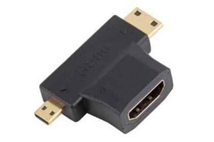 3 in 1 HDMI Buchse zu Mini-HDMI Stecker und Micro HDMI Stecker, schwarz