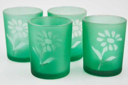 4er Set grüne kleine Gläser mit Blumenmuster