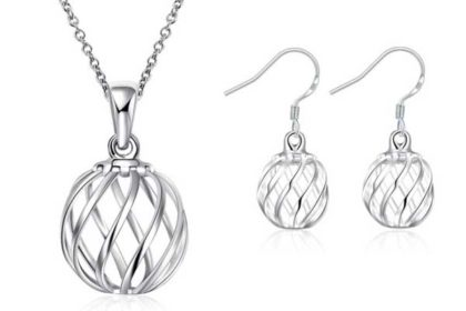 925 Sterling Silber Schmuck-Set bestehend aus Halskette und einem Paar Ohrringe