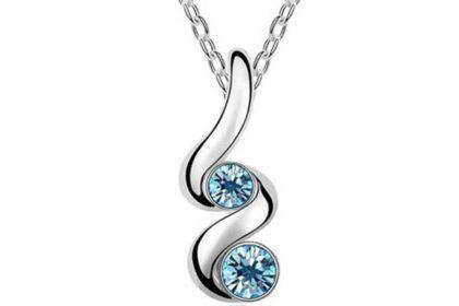 925 Sterling Silber - feine Glieder-Halskette 40 - 45 cm mit geschlauftem Anhänger und blauen Kristallen