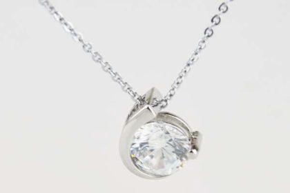 925 Sterling Silber - feine Glieder-Halskette 42 cm mit Anhänger und grossem klaren Kristall