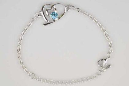 Silbernes Armband 19cm mit Herz 19 x 16mm