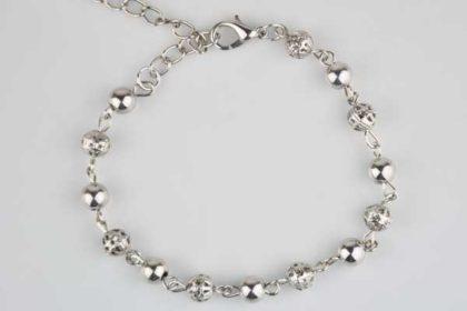 Silber Armkette mit vielen kleinen Kugeln, 17-24cm