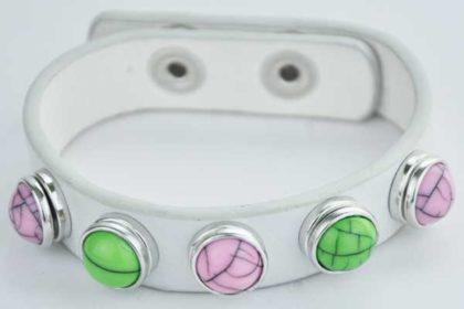 Armband 24 cm weiss mit 5 Chunk-Button 12 mm, grün-rosa