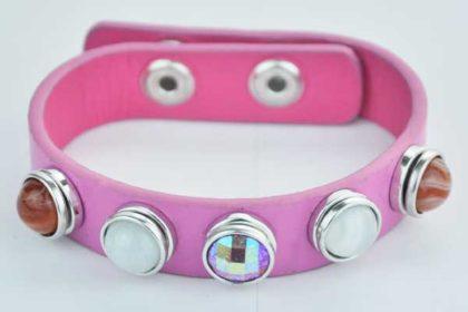 Armband 24 cm rosa mit 5 Chunk-Button 12 mm, weiss-glitzer-orange
