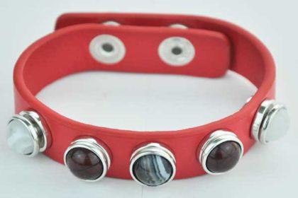 Armband 24 cm rot mit 5 Chunk-Button 12 mm, weiss-braun-stein