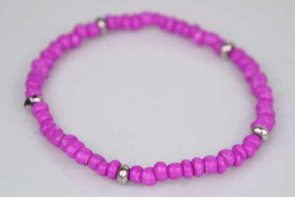 Armband elastisch mit vielen kleinen pinken und silbernen Beads