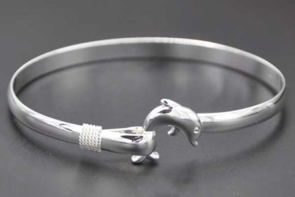 925 Sterling Silber Armreifen mit Delphine-Verschluss