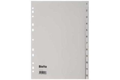 Biella - 1 Register Polypropylen, 12-teilig, 1-12, mit Indexpapier, A4, grau