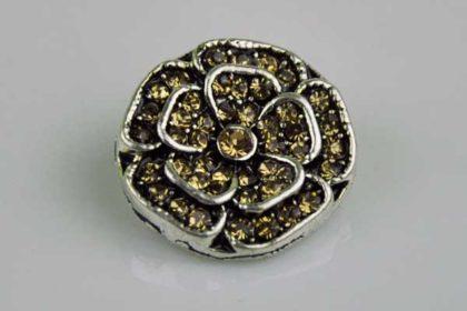 Chunk Button 18mm für Armbänder und Ketten, Blume mit braunen Kristallen