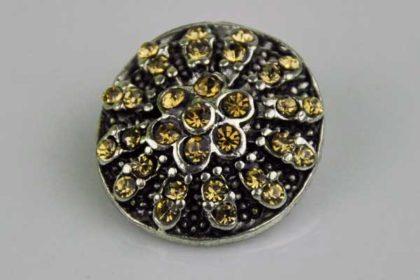Chunk Button 18mm für Armbänder und Ketten, Blume mit hellbraunen Kristallen
