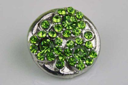Chunk Button 18mm für Armbänder und Ketten, mit grünen Kristallblumen
