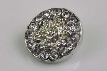 Chunk Button 18mm für Armbänder und Ketten, mit Blumen und klaren Kristallen