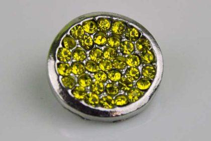 Chunk Button 18mm für Armbänder und Ketten, mit gelben Kristallen
