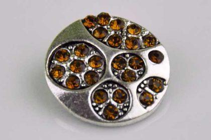 Chunk Button 18mm für Armbänder und Ketten, mit Muster und orangen Kristallen