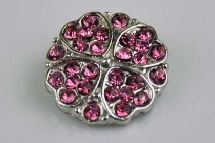 Chunk Button 18mm für Armbänder und Ketten, mit pinken Kristallherzen
