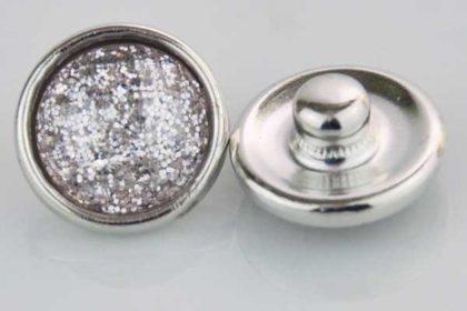 Chunk Button 12mm für Armbänder und Ketten, weiss-transparente Kristalle