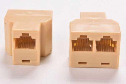 Ethernet RJ45-Kabel Adapter - Port 1 zu Port 2, beige