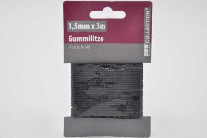 JES COLLECTION Gummilitze 1.5mm x 3m, schwarz