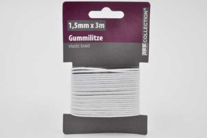 JES COLLECTION Gummilitze 1.5mm x 3m, weiss