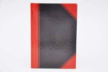 JES COLLECTION Kladde Notizbuch DIN A6, kariert, schwarz-rot