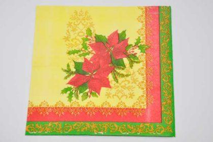 Serviette 2-lagig 33x33 cm, rot-grün mit Blättern und Zweig