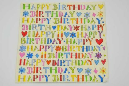 Serviette 3-lagig 33x33 cm, Happy Birthday