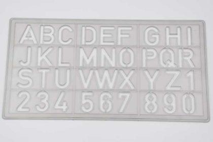 Schriftschablone für Schule, Beruf, Haushalt, Freizeit, 18mm, grau transparent