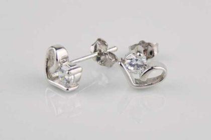1 Paar Silber Ohrstecker Herz mit Kristall