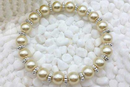 Armband elastisch mit vielen Glasperlen 8mm, champagner