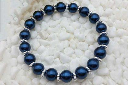 Armband elastisch mit vielen Glasperlen 8mm, cymbidium blau