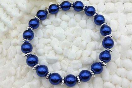 Armband elastisch mit vielen Glasperlen 8mm, dunkelblau