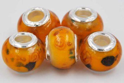 Lampwork Beads Murano, 14 x 10 mm, orange-schwarz