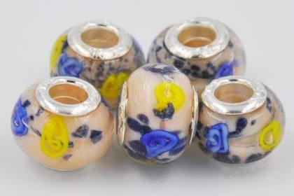 Lampwork Beads Murano, 14 x 10 mm, rosa-blau-gelb