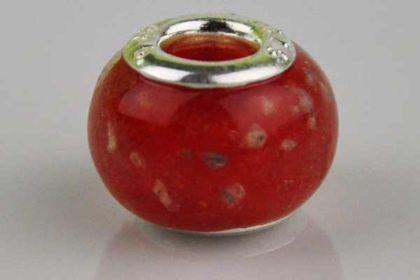 Lampwork Beads Murano, 14 x 10 mm, rot-weiss