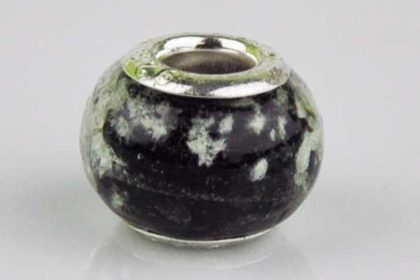 Lampwork Beads Murano, 14 x 10 mm, schwarz-weiss