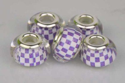Lampwork Beads Murano, 14 x 10 mm, weiss-violett