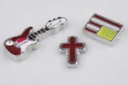 Metall-Charms Gittare, Kreuz, USA-Flagge - 3 Stück