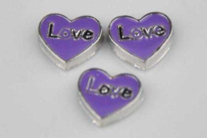 Metall-Charms Herzen violett Love - 3 Stück