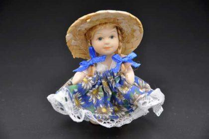 Porzellan-Mädchen mit Rock, beweglichen Armen und Beinen, blau